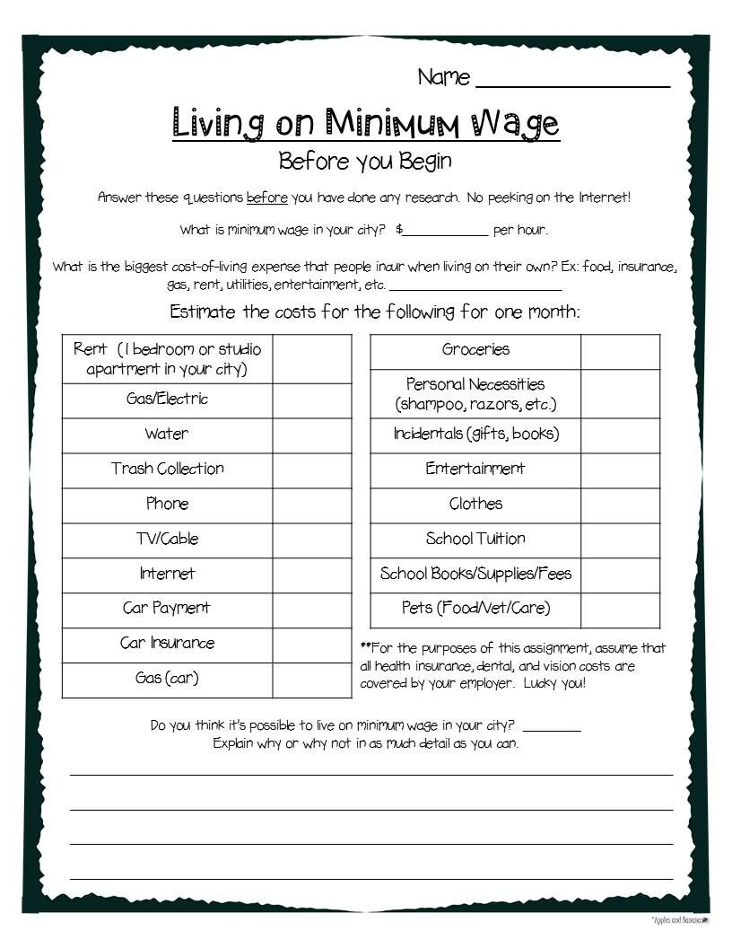 Living On Minimum Wage Graphic Organizer Minimum Wage High School Project Wage [ 1056 x 816 Pixel ]