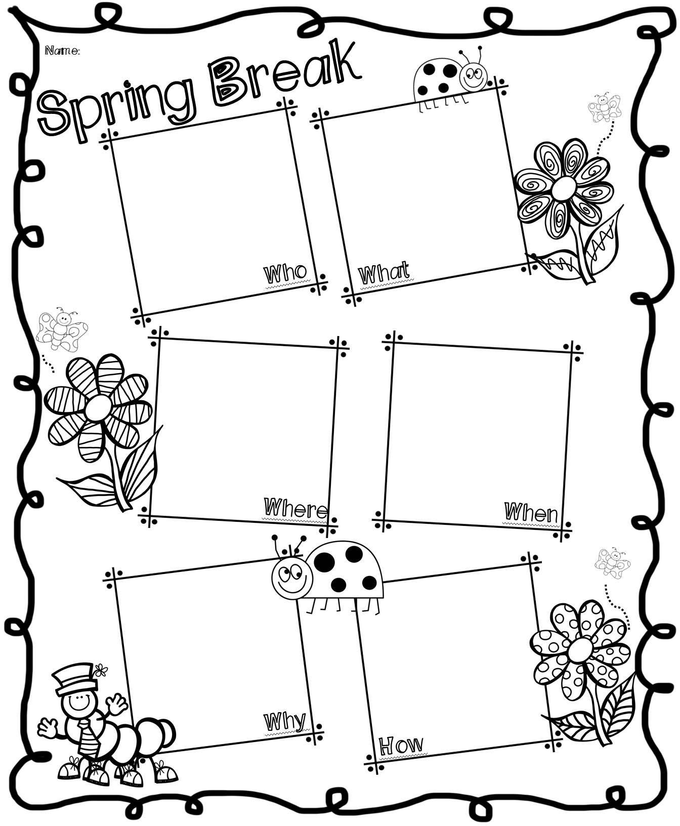 Spring Break Writing Activity