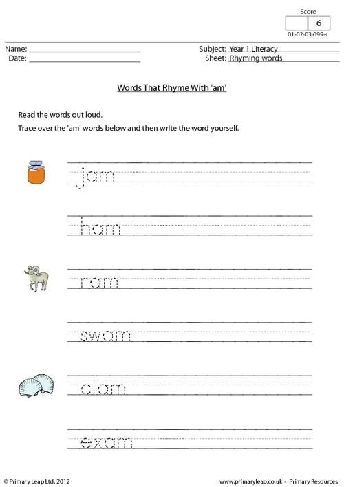 This year 1 worksheet focuses on words that end in \'am\'. Children ...