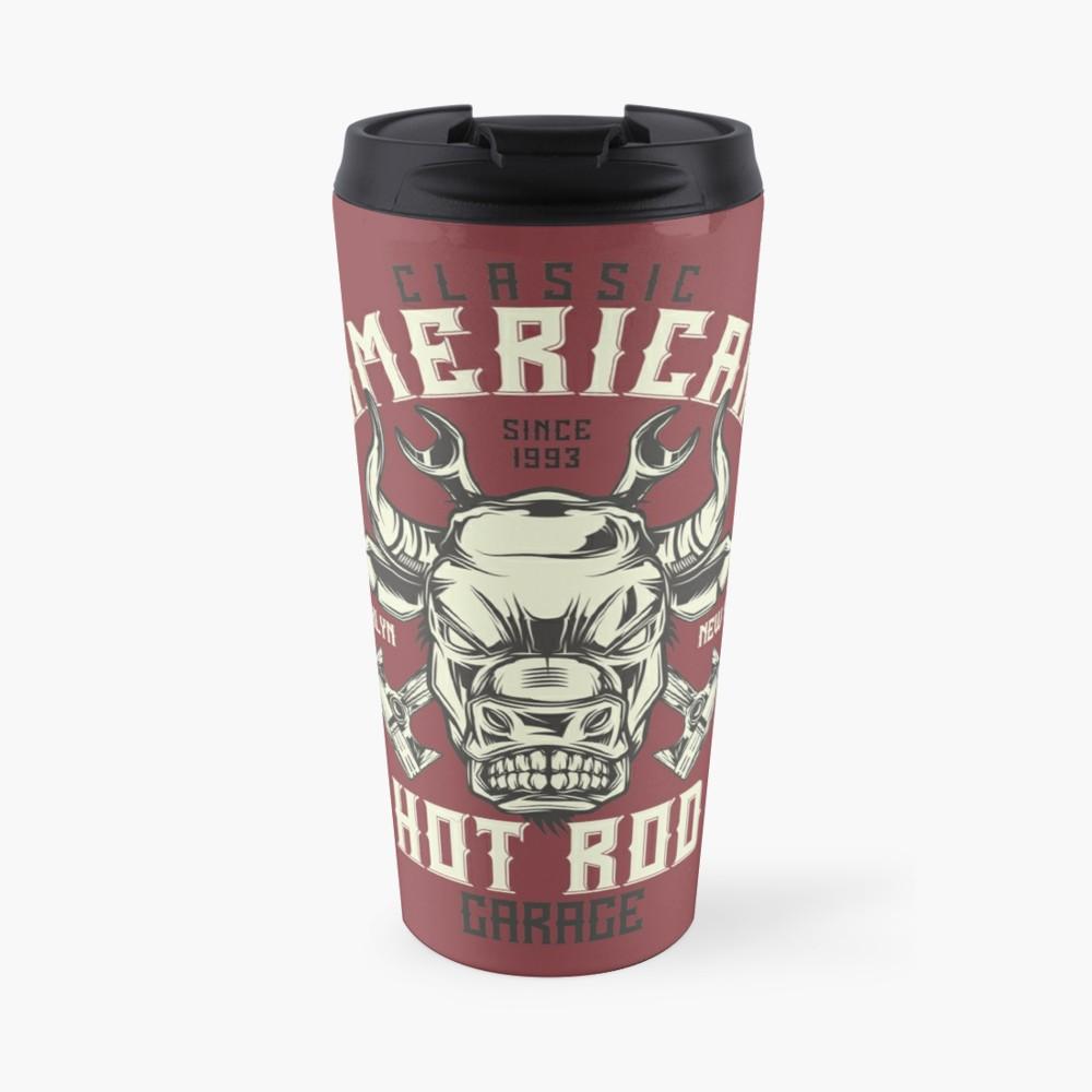 'Classic American Hot Rod Garage' Travel Mug by Urbanbestie