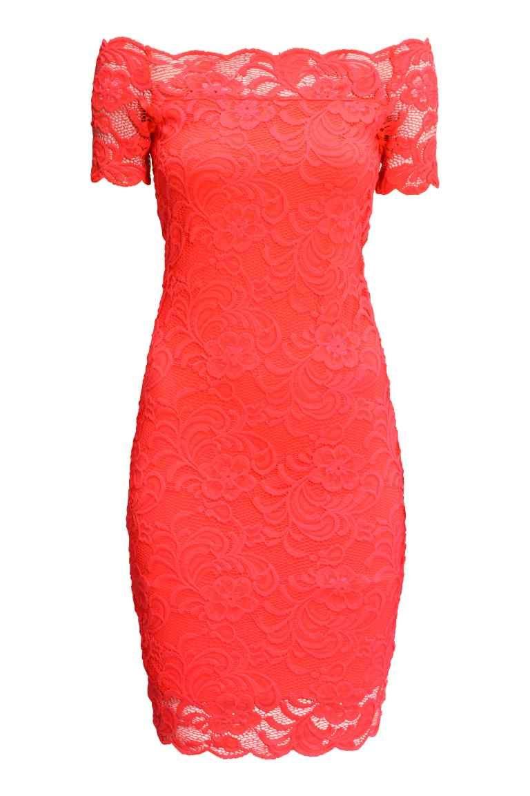 Robe épaules nues en dentelle - Rouge corail - FEMME | H&M FR