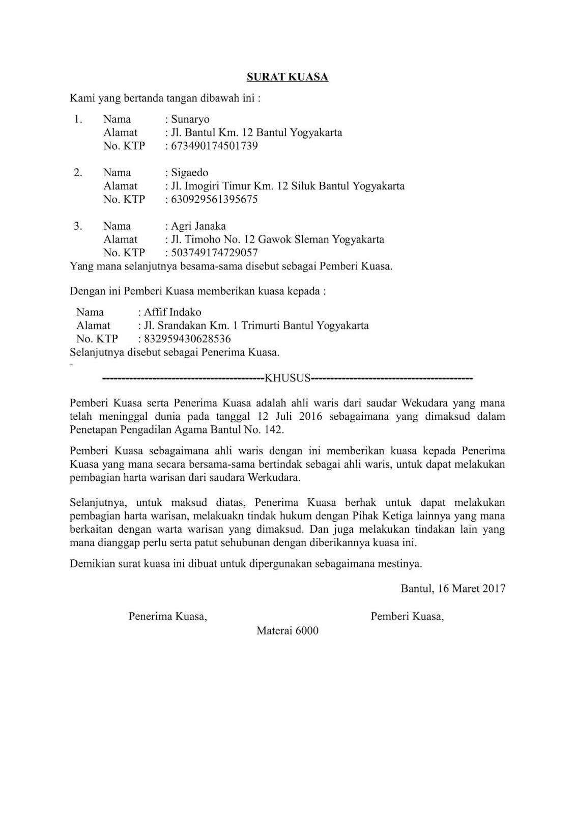 Contoh Surat Kuasa Ahli Waris Surat Surat Wasiat Surat Kuasa