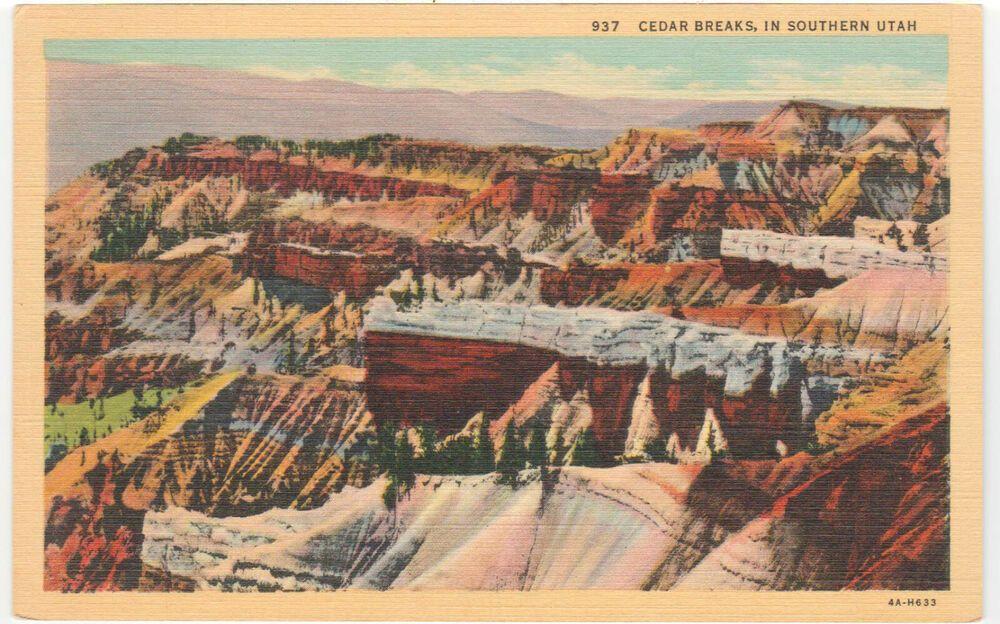 Vintage Linen Postcard Cedar Breaks National Monument in