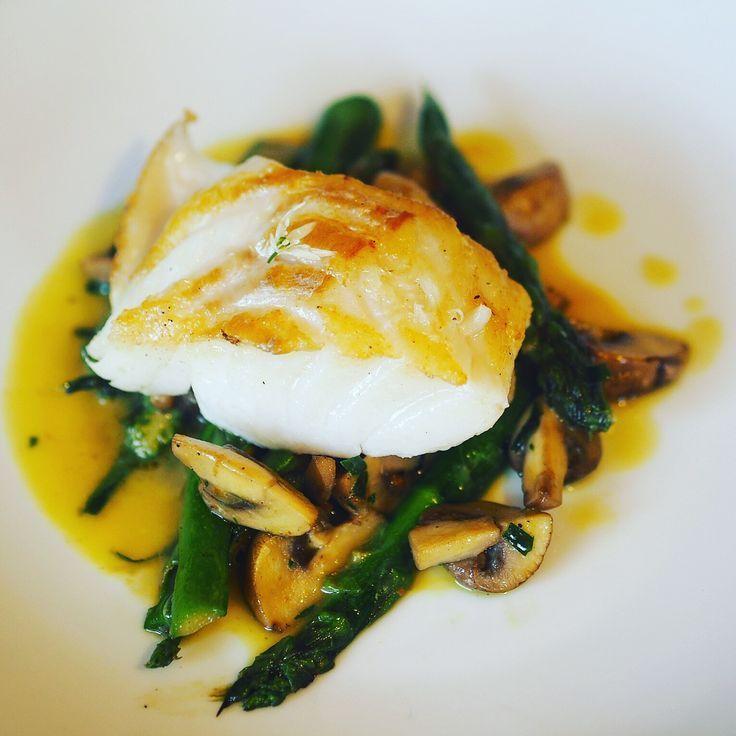 Roasted Cod with Wild Garlic, Asparagus and Mushrooms - Artisan Traveller