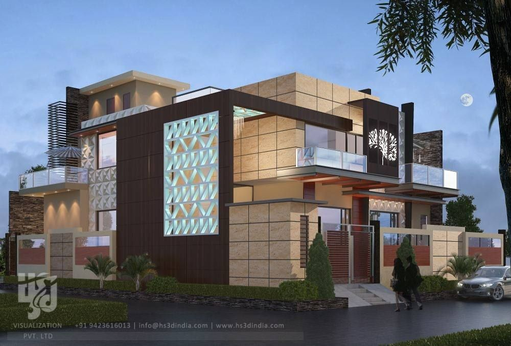 Modern Bungalow Exterior 3drender Night View By Www Hs3dindia Com
