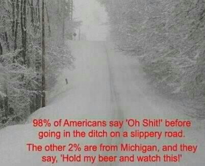 Michigan: certainly not promoting drinking and driving, but I have had the experience of sliding into a ditch and driving right back out!
