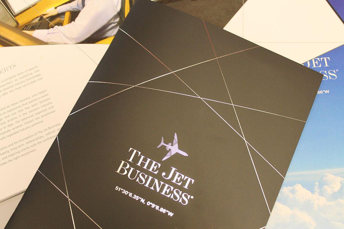 The Jet Business Brochure, matt laminated and foil blocked