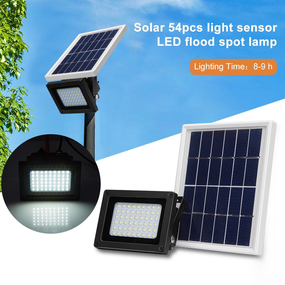 Wlite 10w Led Solar Flood Lights Outdoor Waterproof Security Lamp 6000k Cool White Intelligent Wall Lights 220 Solar Flood Lights Flood Lights Outdoor Lighting