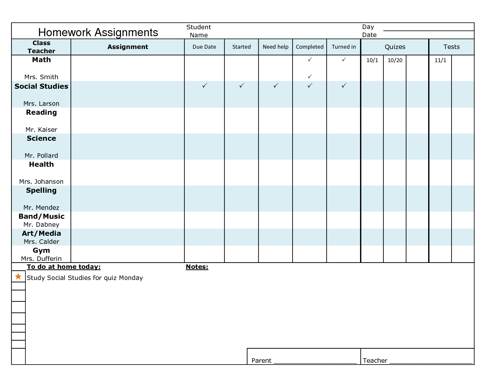 Homework Assignment Template | Visual Supports | Pinterest ...
