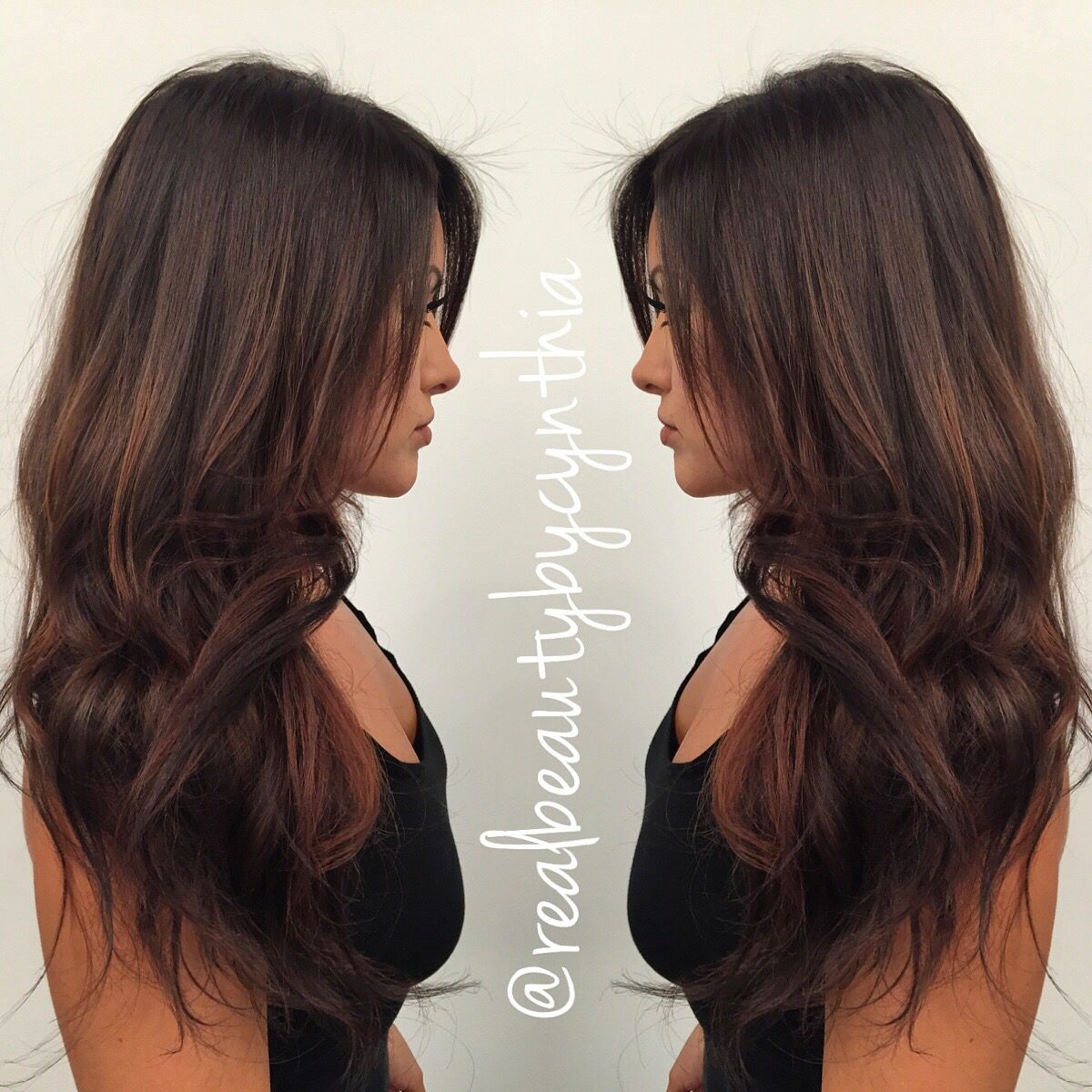 This is a dark auburn chocolate brown with Sunkissed ...