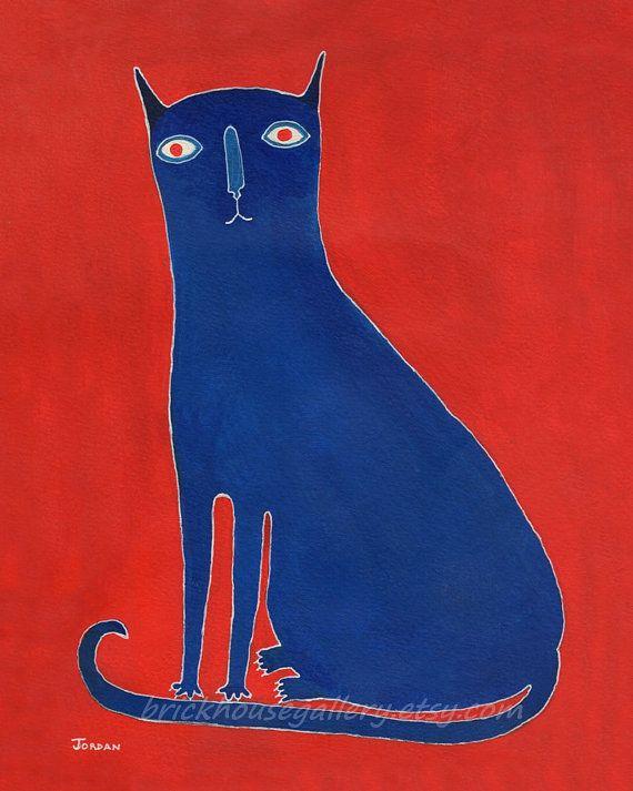 Blue Cat on Red Fine Art Print por BrickHouseGallery en Etsy