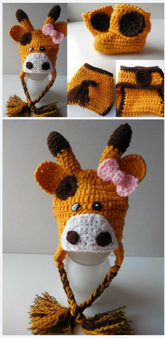 Girl Giraffe Baby Set - Hat - Diaper Cover and Booties - Photo Prop - Newborn -0 to 3 Months -3 to 6 Months -Handmade Crochet -Made to Order https://www.etsy.com/listing/472700911/
