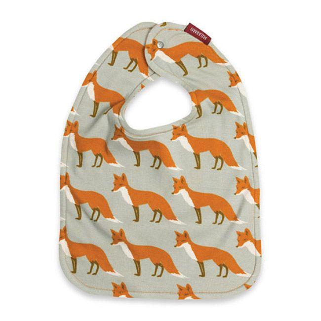 Traditional Bib Orange Fox - $18.00  Soft traditional-shaped bib with all over print.