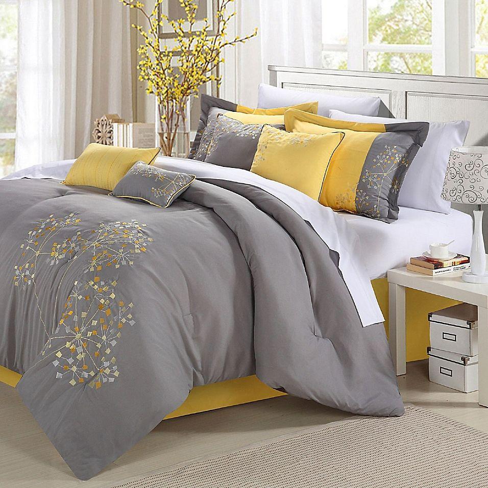 Chic Home Sakura 12 Piece King Comforter Set In Yellow In 2019
