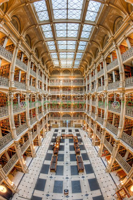 The Beautiful Interior Of The George Peabody Library A Part Of Johns Hopkins University In