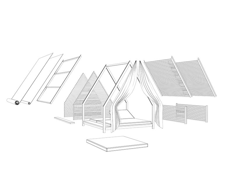 De Cottage is een ontwerp van Patricia Urquiola voor Kettal die wereldwijd veel aandacht gekregen heeft door dit bijzondere loungeobject voor de tuin. Een groot platvorm met verstelbare ligkussens is voorzien van een dak wat een besloten en uniek karakter geeft. Vele kleuren en materialen zijn te combineren om zo je eigen privédomein te creëeren.
