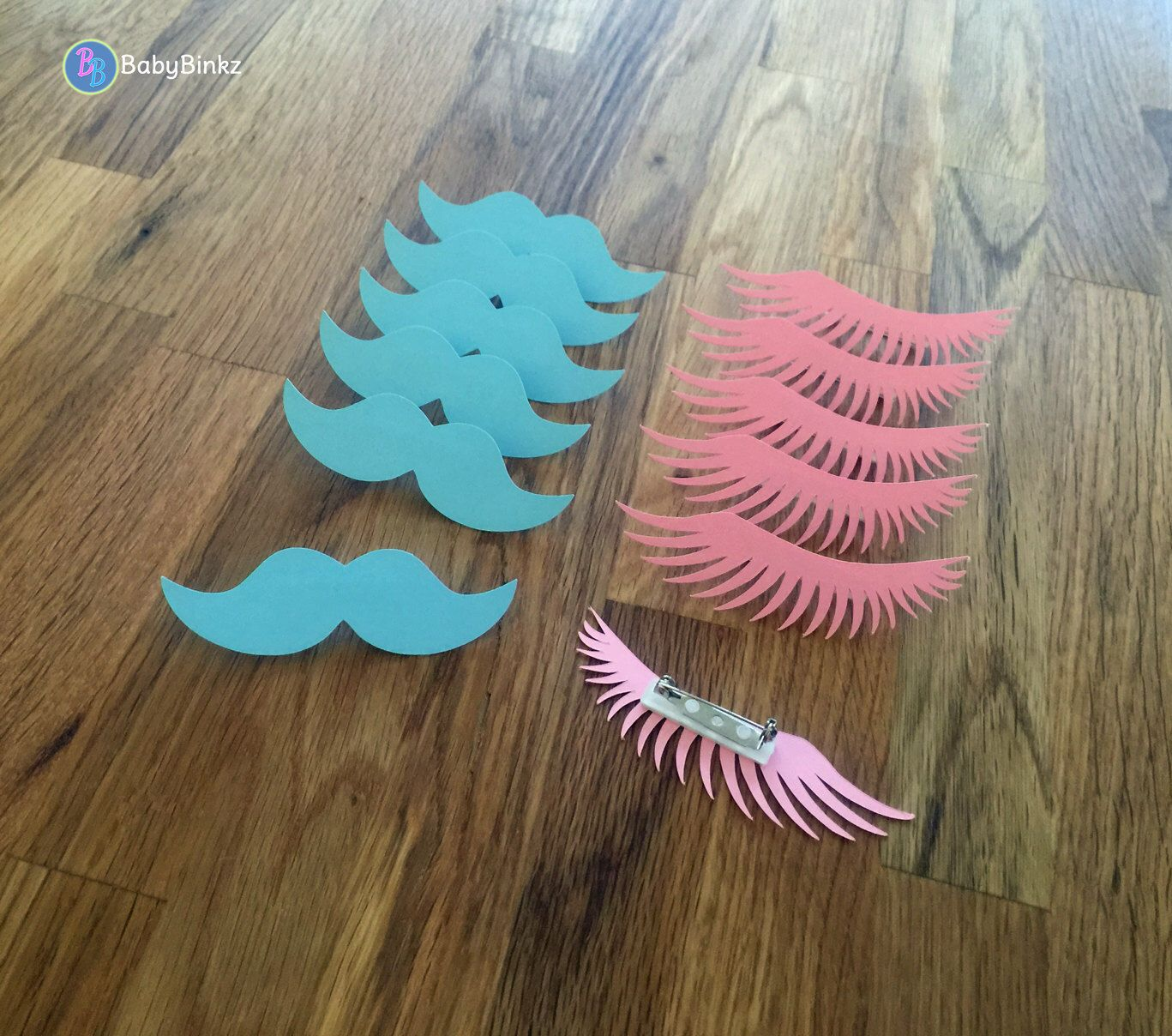 party pins staches or lashes gender reveal baby shower die cut pink girl eyelashes - Gender Reveal Baby Shower
