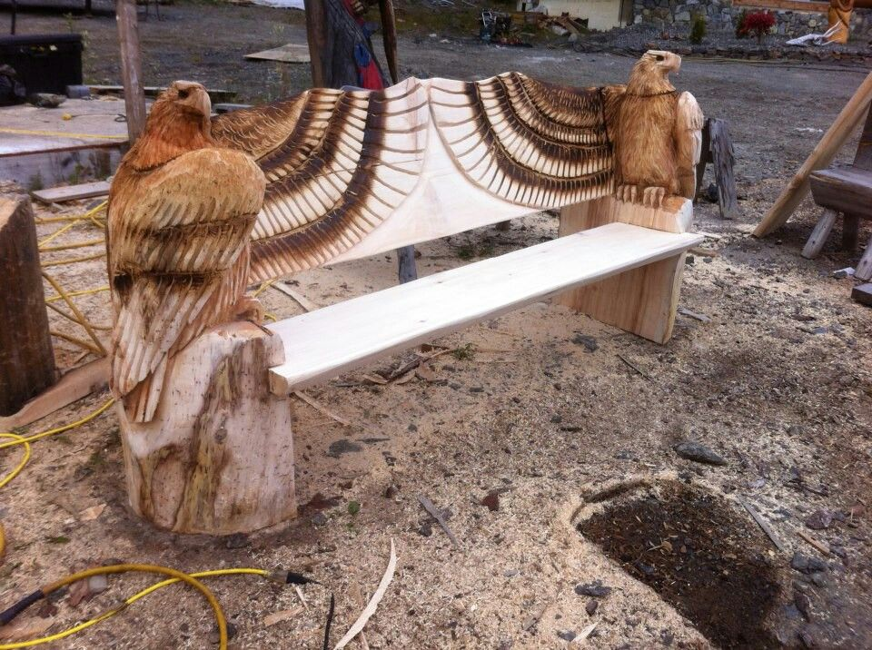 Wood carved eagle bench furniture chairs pinterest