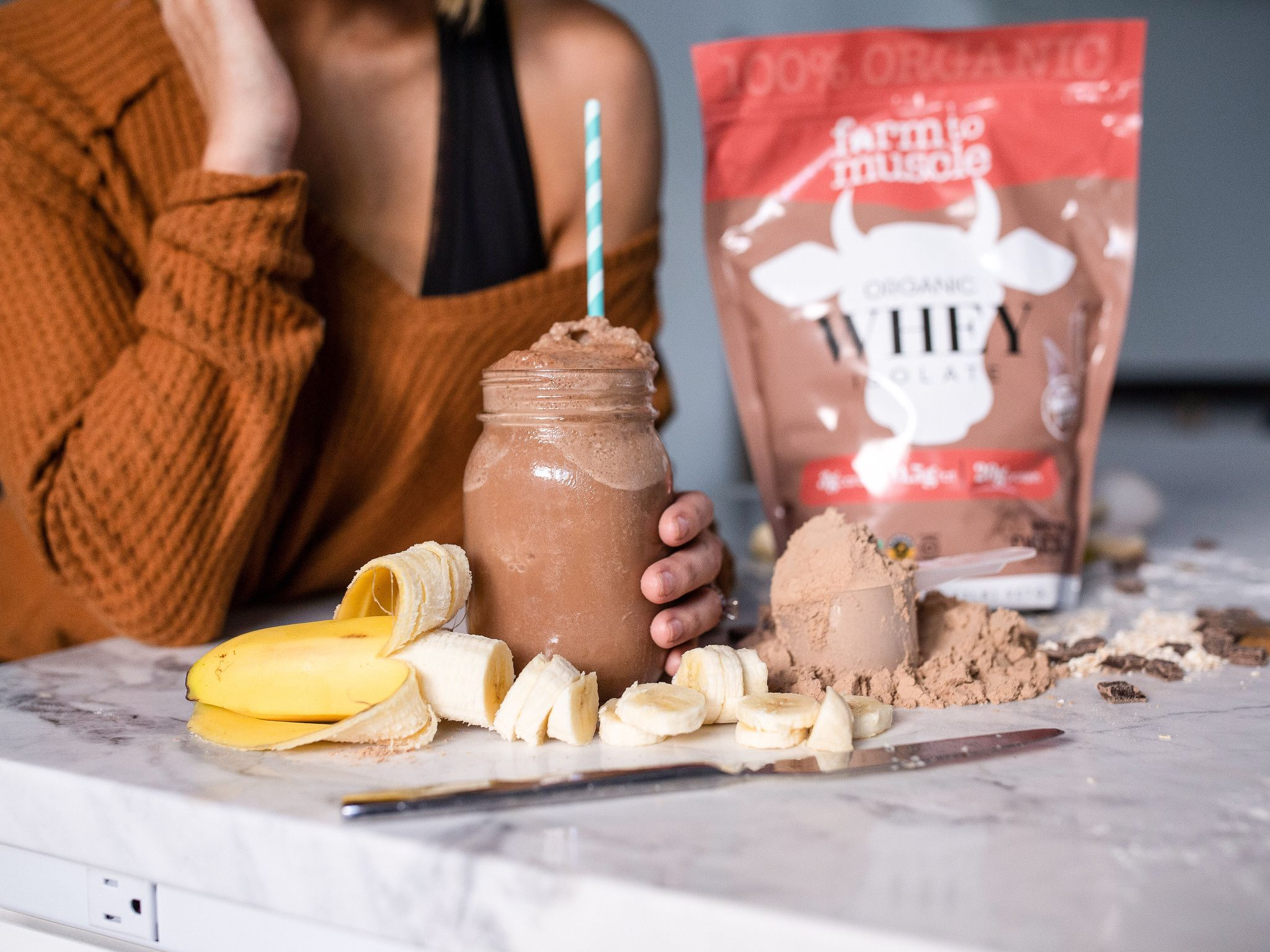 Farm To Muscle's organic whey protein powder is made with 100% organic traceable ingredi… in