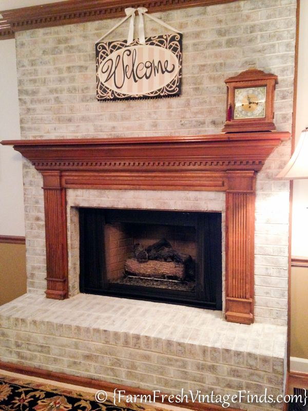 How To Whitewash Brick Farm Fresh Vintage Finds White Wash Brick Fireplace White Wash Brick Brick Fireplace