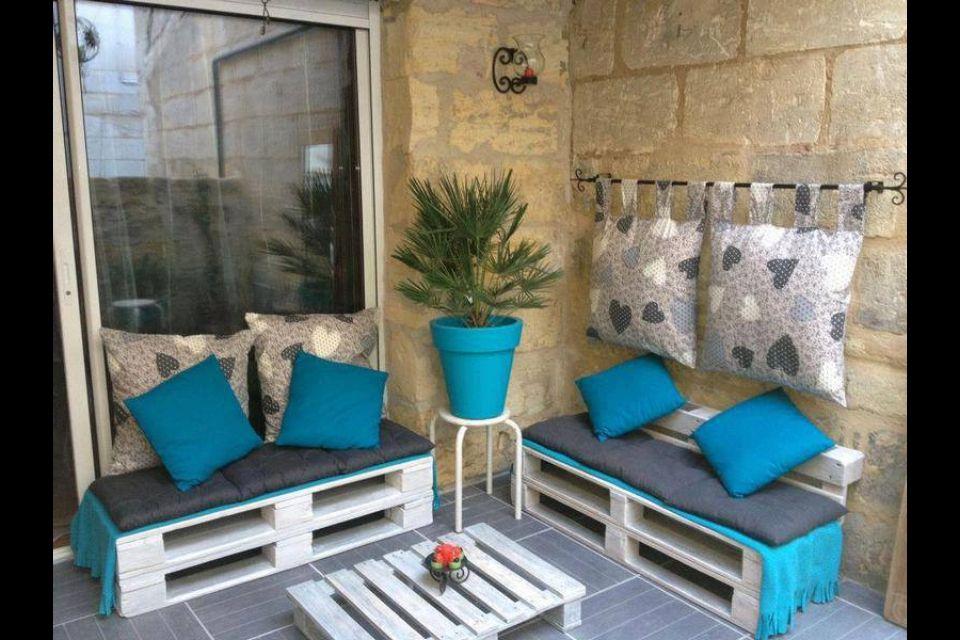 Id e deco terrasse avec des palettes terrasse pinterest for Idee terrasse