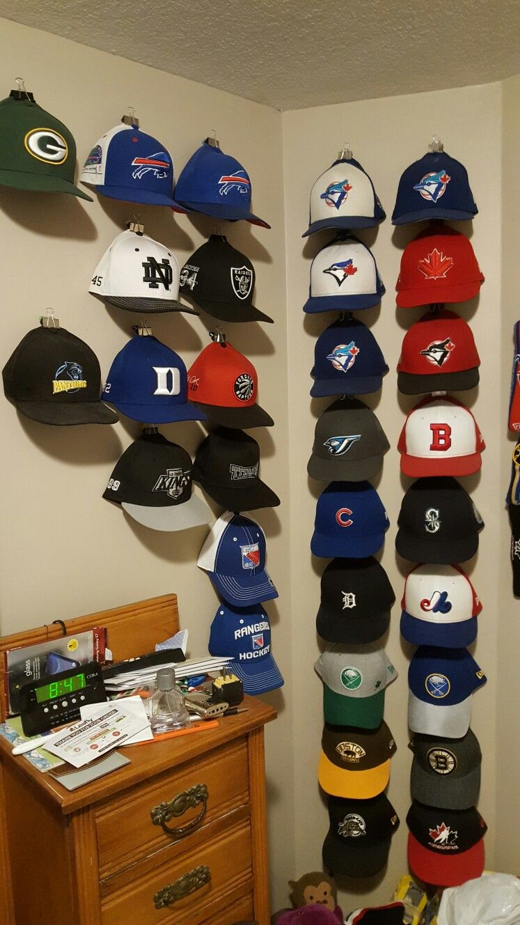 Hang Your Hats With Binder Clips And Push Pins In The Wall