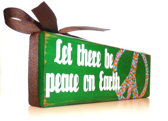"""Green Wooden Polka Dot Peace Sign Decor with a Distressed Rustic Finish - """"Let there be peace on Earth"""", $30.00"""