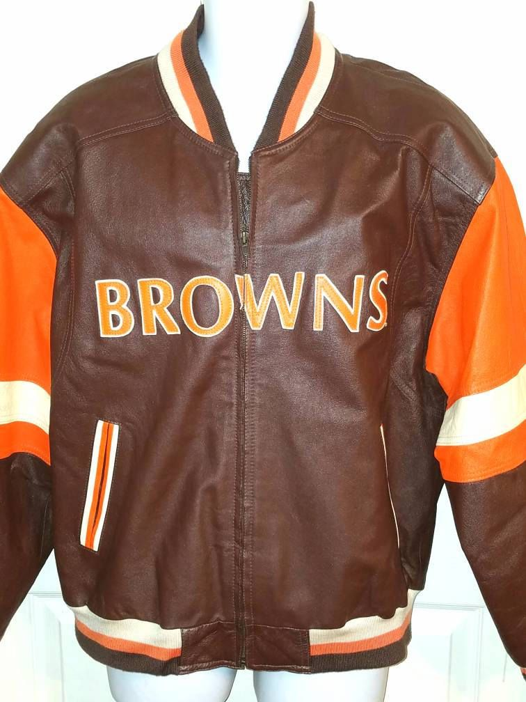 1990 s Mirage CLEVELAND BROWNS Leather Varsity Jacket Football NFL Adult  Large by CrossCzechHockey on Etsy 1be01221a