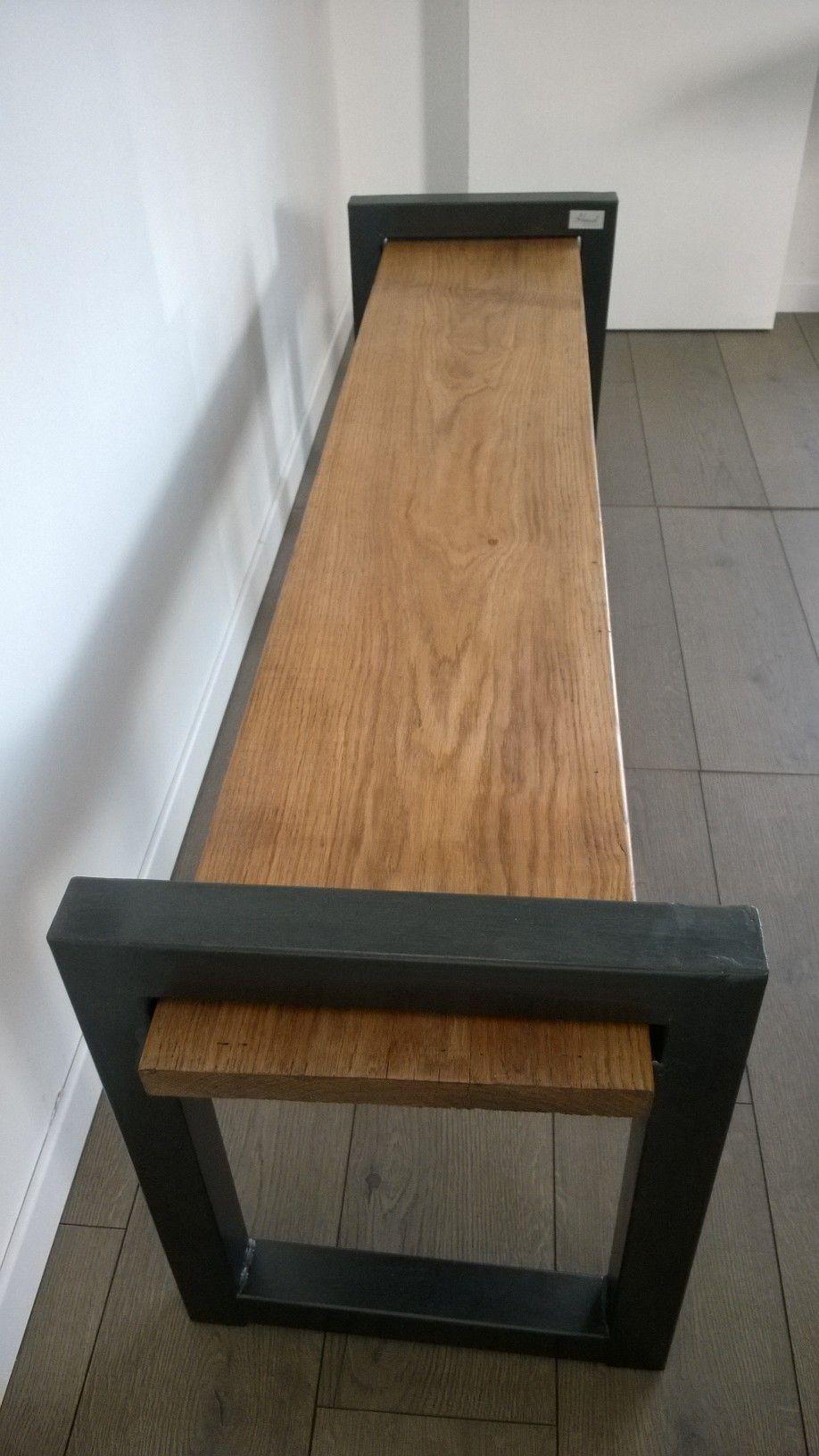 banc industriel banc bois et m tal banc vintage banc. Black Bedroom Furniture Sets. Home Design Ideas