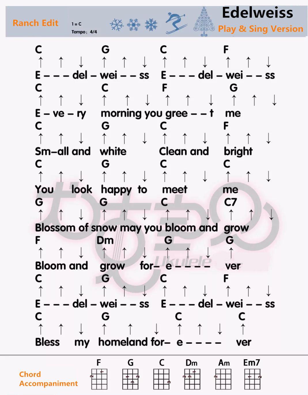 Edelweiss Ukulele Sheet Play Sing Version Ranch Edit Ukulele