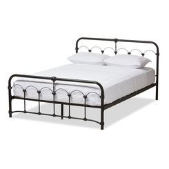 afdbb51919556 Baxton Studio TS-Celeste-Black-Queen Celeste Vintage Industrial Black  Finished Metal Queen Size Platform BedProduct Details  Inspired by the  classic turn of ...