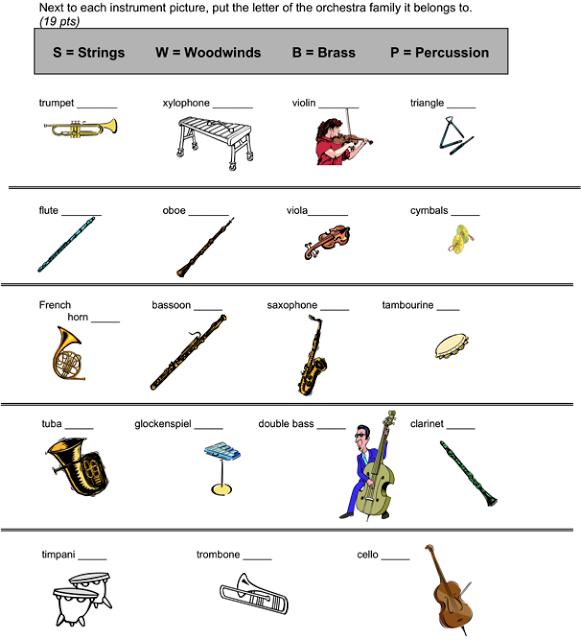 instruments of the orchestra worksheets kidz activities. Black Bedroom Furniture Sets. Home Design Ideas