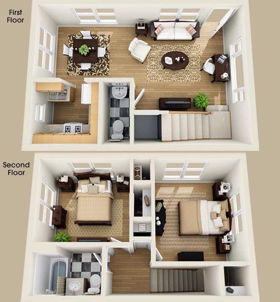2 bedroom house plans 3d - Google Search   House plans   Pinterest ...