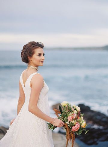 Wedding Bridal hair and makeup for Maui, Hawaii destination weddings by Love and Beauty Maui.  Classis updo with a modern twist.
