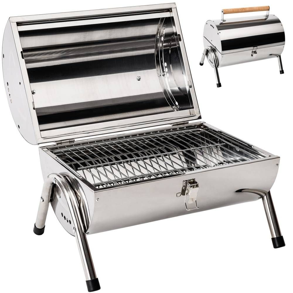 Holzkohlegrill Aus Edelstahl Günstig Online Kaufen Tectake Portable Bbq Charcoal Bbq Grill Stainless Steel Bbq Grill