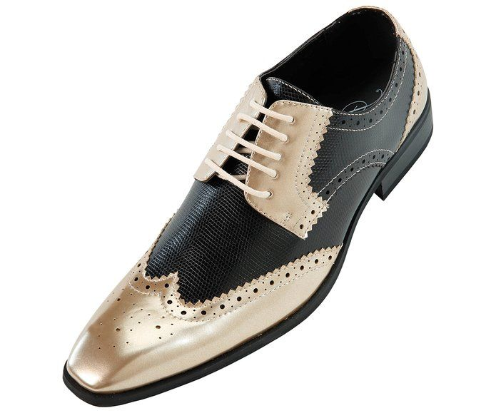 Amali Mens Two-Toned Black and Metallic Gold Dress Shoe with Wing-Tip and Perforated Detail: Style 5846 Metallic Gold
