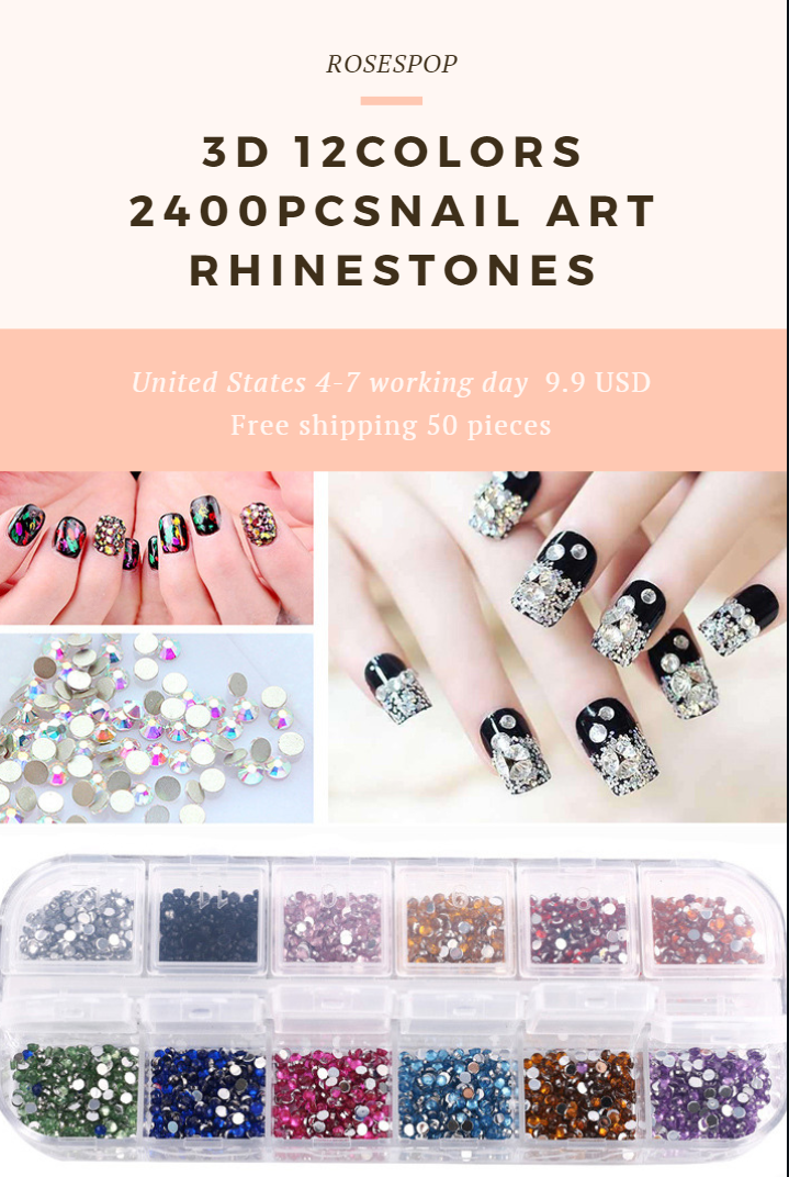 3D 12Colors 2400pcs Nail Art Rhinestones