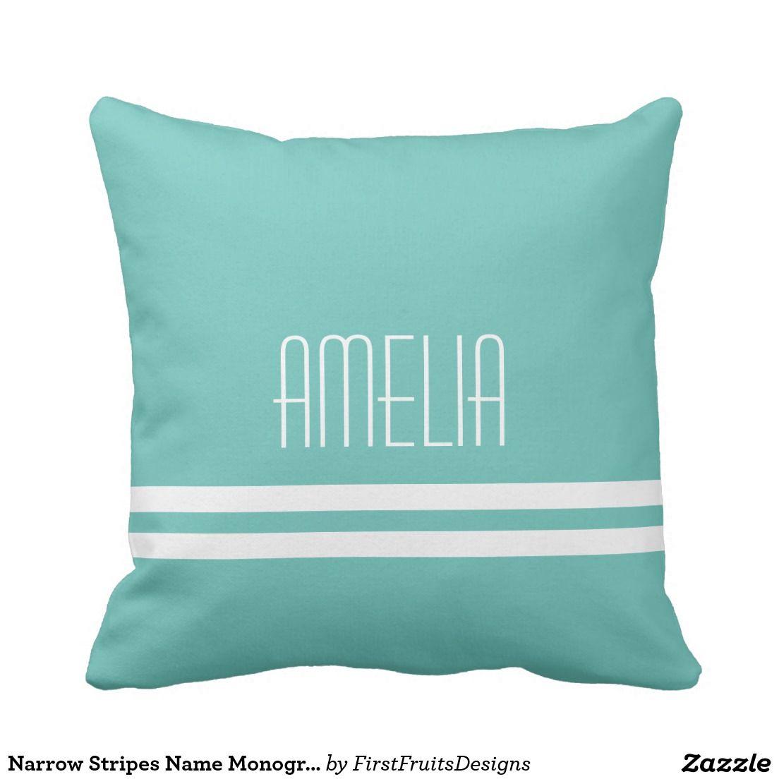 Narrow Stripes Name Monogram White Bright Teal Pillow