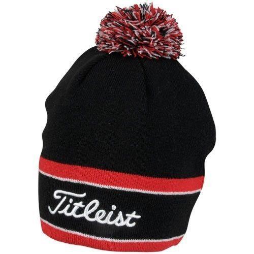 889845ceeab New-Titleist-Golf-Winter-Pom-Pom-Beanie-Hat-TH6WEAWHP-9-Black-Red-White