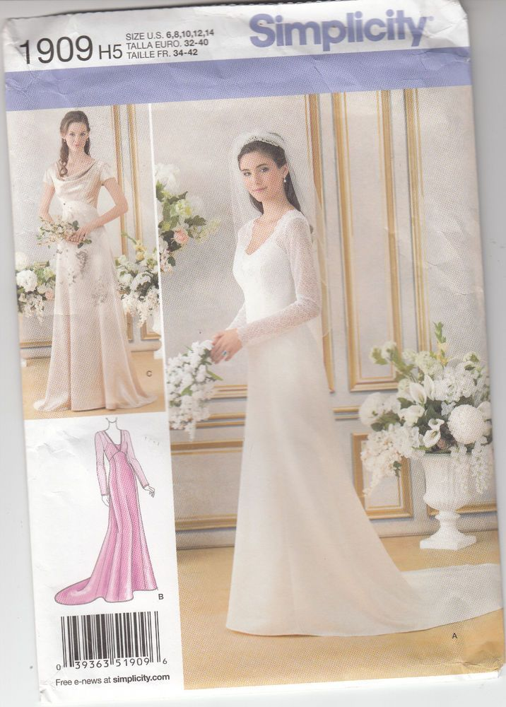 Wedding Bridesmaid Bridal Gown Dress Lined Simplicity Sew Pattern 1909 Sz 6-14 #Simplicity1909 #3variations