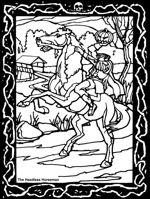 headless horseman coloring page from dover publications house of horror stained glass coloring book