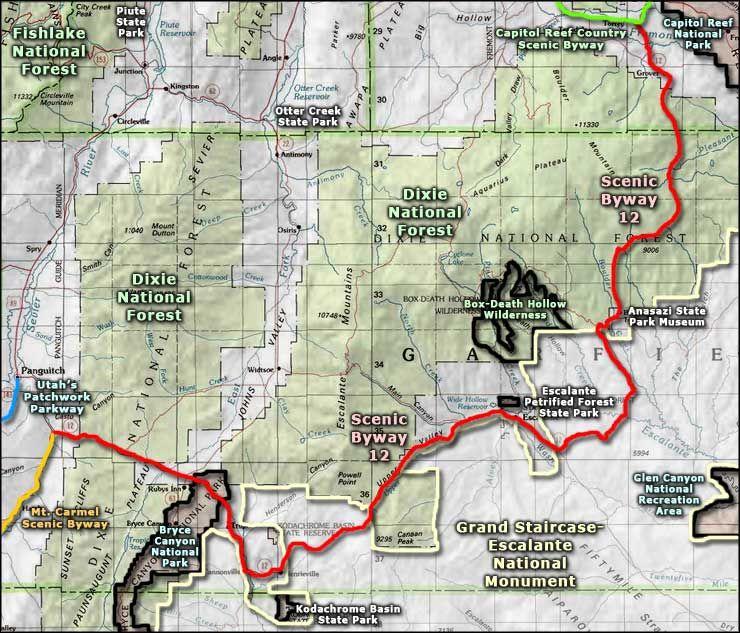 Grand Staircase Utah Scenic Drive 12 Map Grand Staircase Escalante