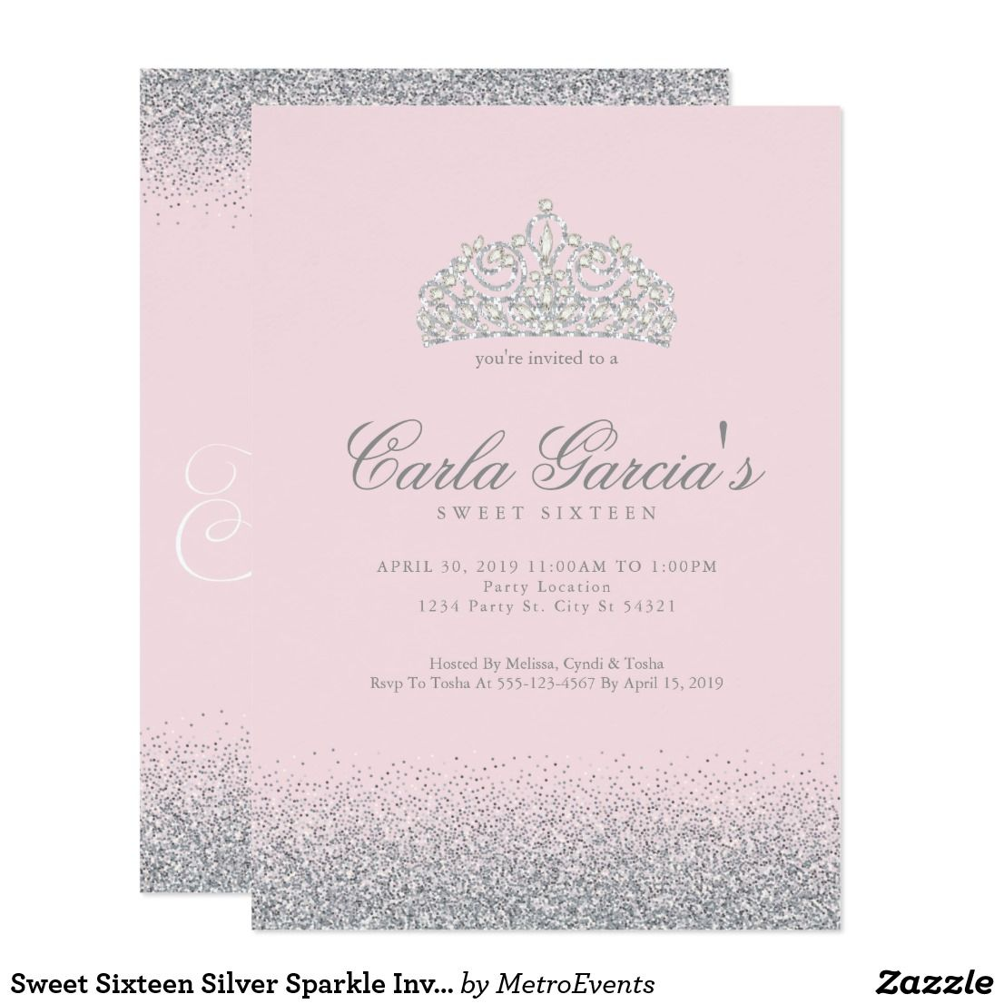 sweet sixteen silver sparkle invitations in 2018 happy birthday