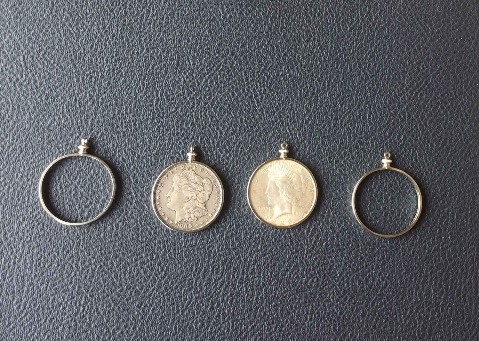 PACK OF 12 BEZELS  4 PRONGS COIN HOLDERS MORGAN SILVER DOLLAR NECKLACE PENDANT