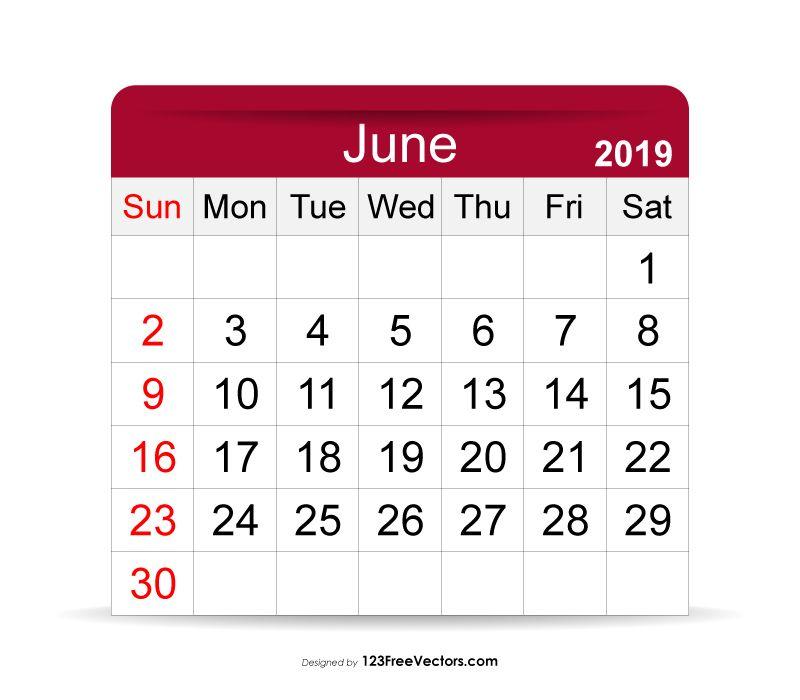 June 2019 Calendar 2019 Calendar Pinterest