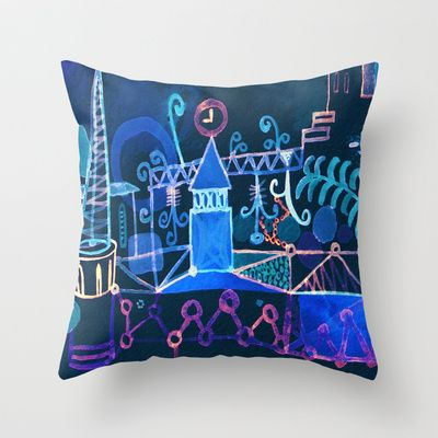 magic city Throw Pillow by Marianna Tankelevich - $20.00