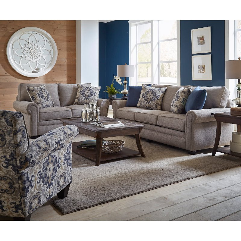 Casual Traditional Taupe Sofa Bed 2 Piece Living Room Set