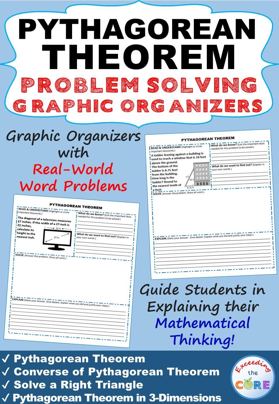 Pythagorean Theorem Word Problems With Graphic Organizer 8th Grade