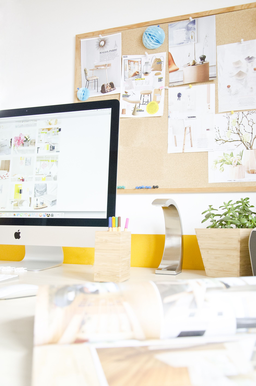 Scandinavian Interior Office Home Table Decoration Colour IMac Pinboard