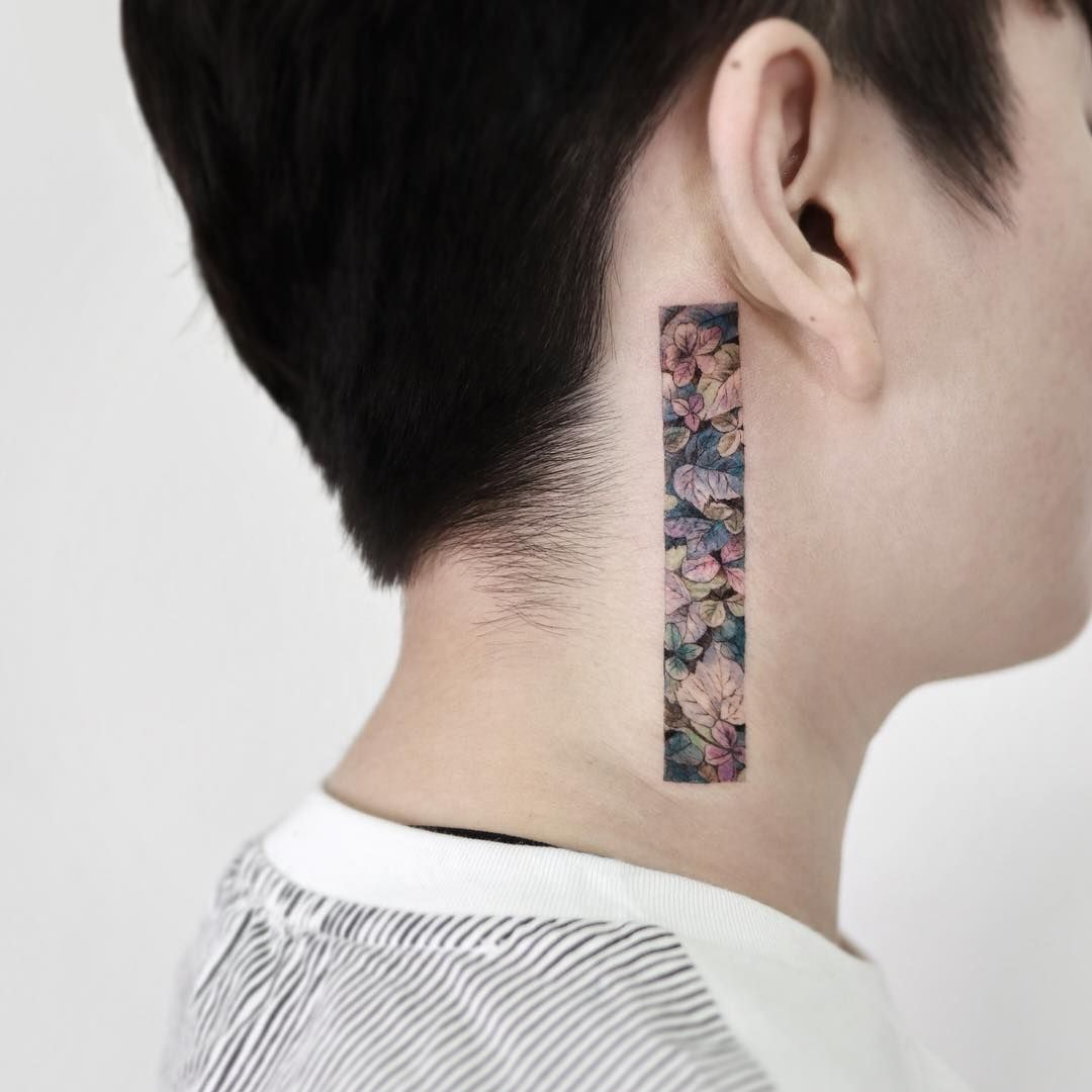 Colorful dead leaves by tattooist_sigak in 2020 neck